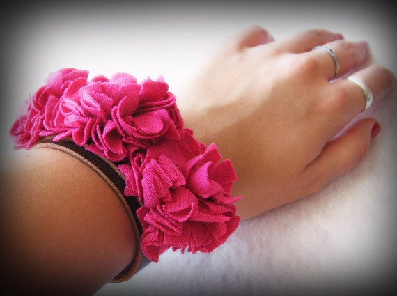 Unique beautiful leather and fabric CUFF / bracelet - bright PINK flowers- brown leather- excellent quality - 2 sizes