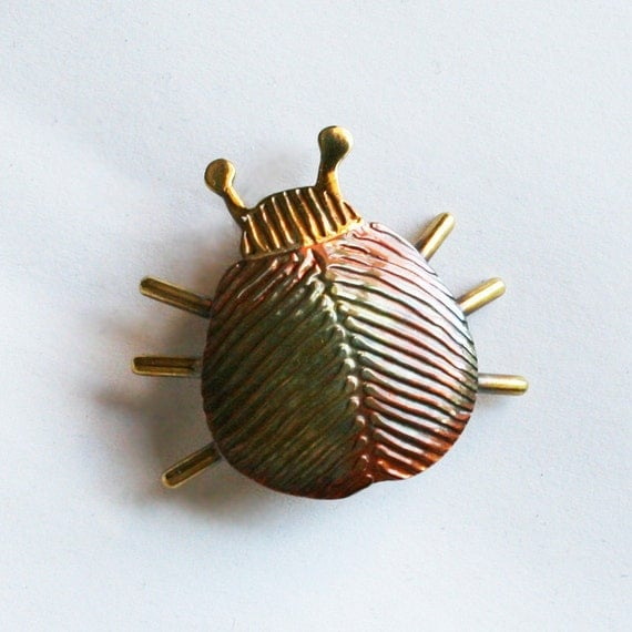 copper and brass bug or beetle brooch