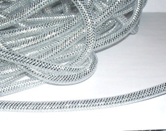 Silver Nylon Mesh Cord Tubing, 9-10mm - 2ft.