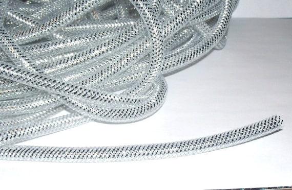 Silver Nylon Mesh Cord Tubing, 9-10mm - 3ft.