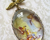 Mock Turtle and Gryphon Necklace (alice in wonderland. magnifying pendant. art book illustration. fairytale jewelry. whimsical jewellery)