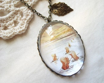 Squirrels Go to Owl Island Necklace (beatrix potter. magnifying pendant. art book illustration. fairytale jewelry. whimsical jewellery)