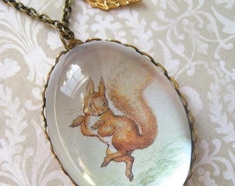 Squirrel Nutkin Necklace (beatrix potter. magnifying pendant. art book illustration. fairytale jewelry. whimsical antique jewellery)