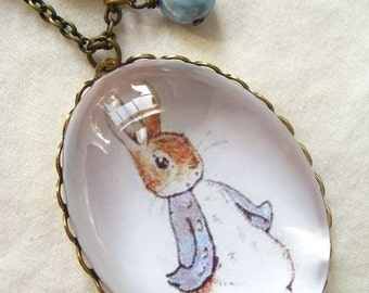 Tale of Peter Rabbit Necklace (beatrix potter. magnifying pendant. art book illustration. fairytale jewelry. whimsical antique jewellery)