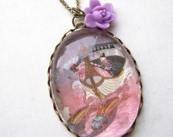 The Nutcracker Necklace (magnifying pendant. art book illustration. fairytale jewelry. antique whimsical jewellery)