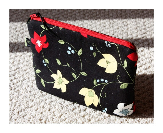 Red and Yellow floral on black  zip bag