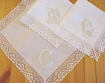 Irish Linen Lace handkerchief with Classic Zundt Monogram