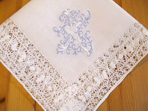 Something Blue Wedding Handkerchief :  Venice Style Lace Handkerchief with Fancy 1-Initial Monogram