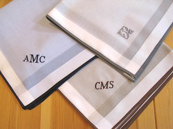 Set of 3 Assorted Color Fine Cotton Mens Monogrammed Handkerchiefs