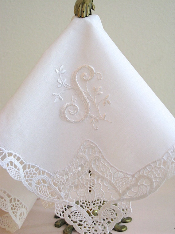 Wedding Handkerchief Collection: Handkerchief with Floral Design 1-Initial Monogram
