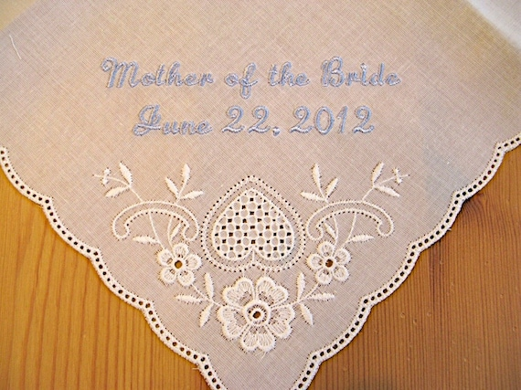White Wedding Handkerchief With Mother Of The Bride And Date
