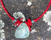 Coral and Aventurine Tab Necklace