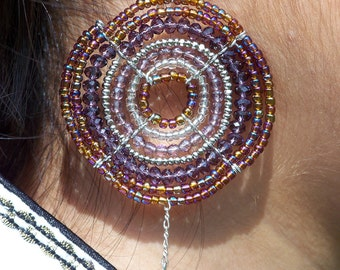 African Jewelry, Maasai Purple and Multi-Color Beaded Earrings (Large)