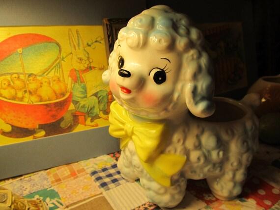 Loveable Lamb Planter- 1960's Animal Figurine- Sweet eyes