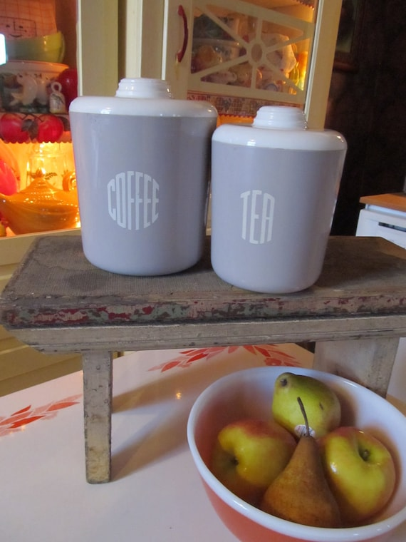 For Lu--FREESHIPPING-Vintage Kitchen Canister Set- Dove Grey with Deco lettering