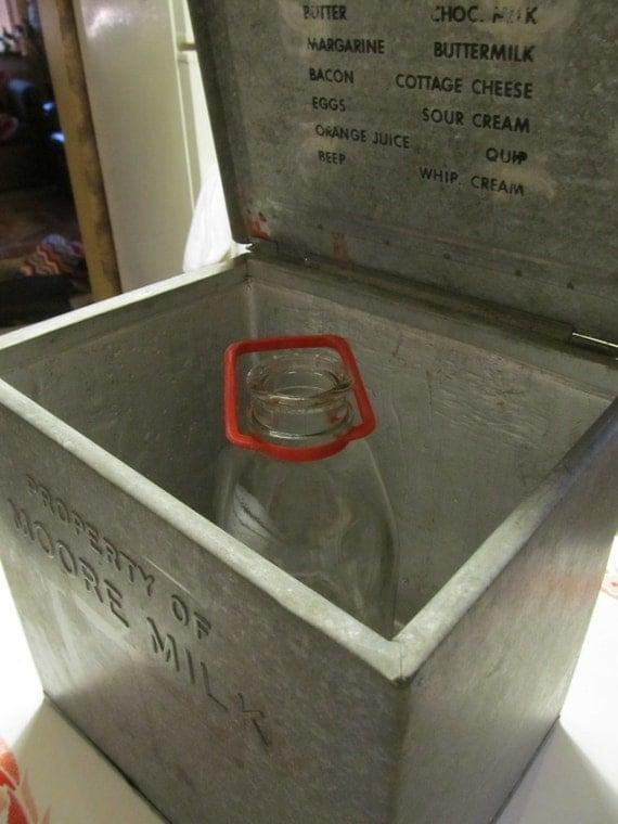 1940's Metal Milk Box-Vintage Farm-Country- Glass Milk Bottle