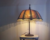 Antique umbrella lamp 1930's cast iron base original wiring working condition Free shipping to USA