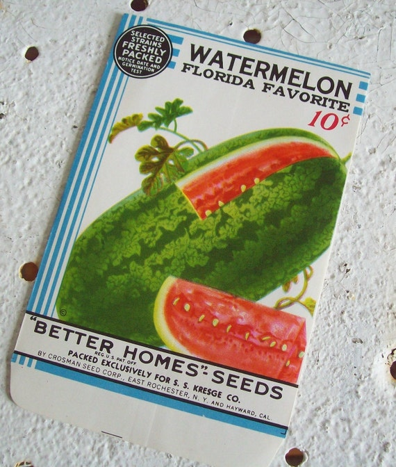 Antique seed packet 1934 Florida Favorite Victory Garden watermelon excellent conditon Free shipping to USA