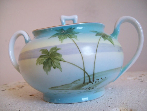 Antique beach and palm trees motif Nippon hand painted sugar bowl  gorgeous and perfect 1891-1921