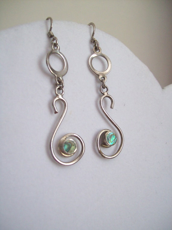 Silver and mother of pearl pierced dangle earrings Free Shipping to USA