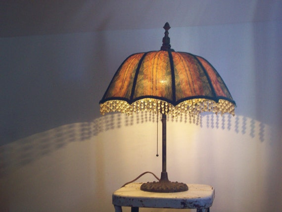 Antique Umbrella Lamp 1930 S Cast Iron Base Original