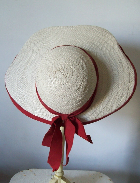 Vintage wide brimmed straw hat red and cream hand stitched wide must see free shipping to USA