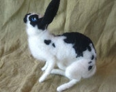 Needle felted rabbit with black spots, poseable pet