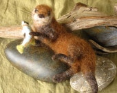 Needle felted otter and fish, pose-able, hand dyed wool