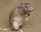 Needle felted rat, pose-able pet