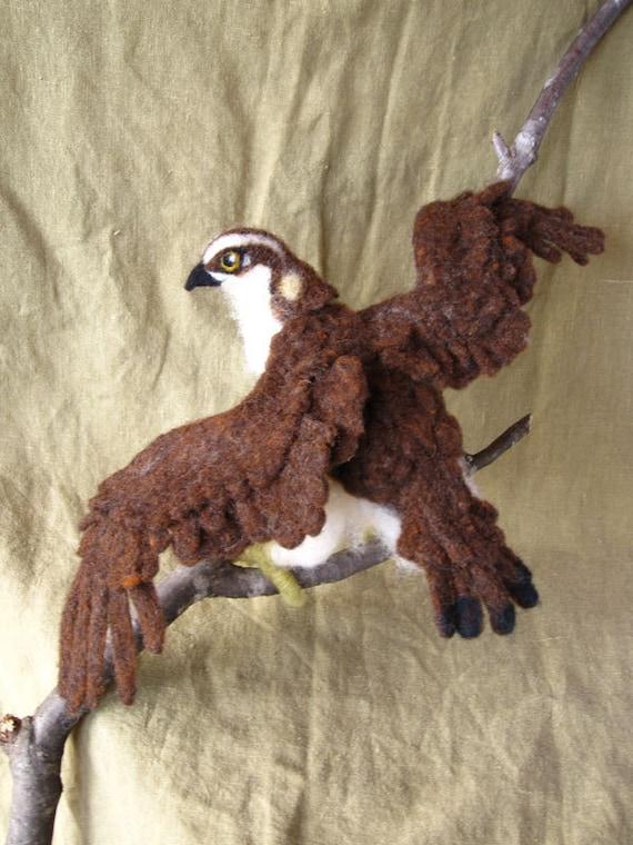 Reserved for Margaret Needle Felted Osprey, bird of prey doll