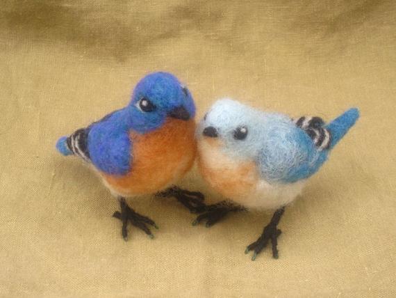 Reserved for Alyssa -Felted bluebirds