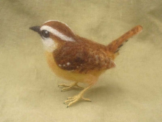 Carolina Wren, needle felted bird, made to oorder