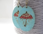 Vintage blue and red edwardian umbrella hand painted wood earrings