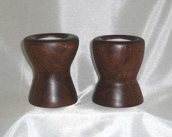 Hand Turned Pair of Walnut Tea Light / Candle Holders