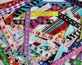 Assorted Pieces of Printed Grosgrain Ribbons for Alligator Clips PLUS BONUS
