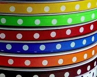 60% OFF Sale - 20 Yards DIPPY DOTS 3/8 Grosgrain Ribbons - 2 Yard Each of 10 Different Colors