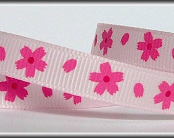 5 Yards PINK DAISIES on light pink 3/8 Grosgrain Ribbon (other colors also available)