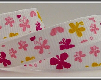 "3/8"" Grosgrain Ribbon with Assorted Butterflies (other colors also available)"