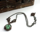 Vintage Bronze Wire Wrapped Bird's Nest Necklace with Minty Green Eggs