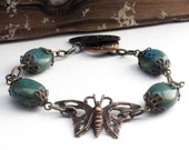 Antique Bronze Turquoise Blue Butterfly Bracelet