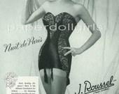 UK Vogue 1957 Magazine Advertisement J. ROUSSEL Corsets Girdles Paris Foundation Garments