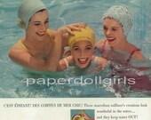 Vogue 1956 Magazine Advertisement Crompton Corduroy Shorts Slacks Linen Blouse Kleinerts Swim Cap