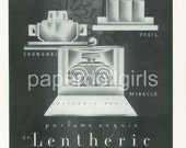 Fashion Magazine Ad, Le Miroir Du Monde, 1933, Art Deco, Lentheric, Perfume, Fashion Illustration, Paper Ephemera, Large Size Ad