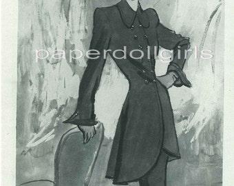 Vintage Fashion Magazine Harpers Bazaar September 1945 Advertisement Nettie Rosenstein Wool Suit Fashion Illustration by Eric