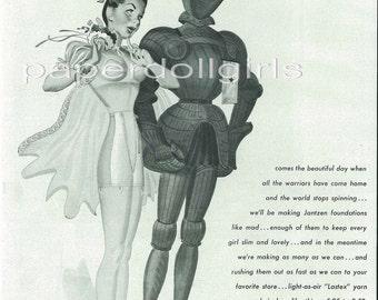 Vintage Fashion Magazine Advertisement Harpers Bazaar September 1945 Jantzen Corset Foundation Garment Girdle