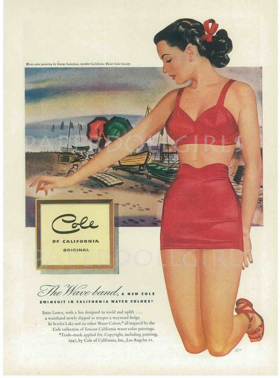 Vintage Bathing Suit Ad(vertisement) 1948 MADEMOISELLE Fashion Magazine Pin Up Girl COLES of CALIFORNIA Swimsuit Bathing Suit Bathers