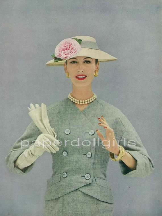 Vogue 1956 Magazine Advertisement CHRISTIAN DIOR Straw Hat Lesur Wool Tweed Suit Van Cleef & Arpels Jewelry