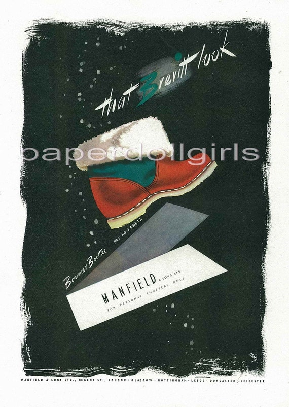 Harpers Bazaar UK 1946 Magazine Advertisement MANSFIELD & SONS Bouncer Bootee Winter Ankle Boot and Cyclax Map of LondonFashion Illustration