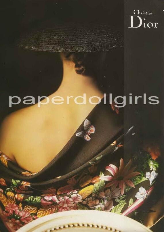 Fashion Magazine Ad, 1989 Vogue, Christian Dior, Scarf, Paper Ephemera, Advertising, Wall Art, Original Not Reproduction, Paris