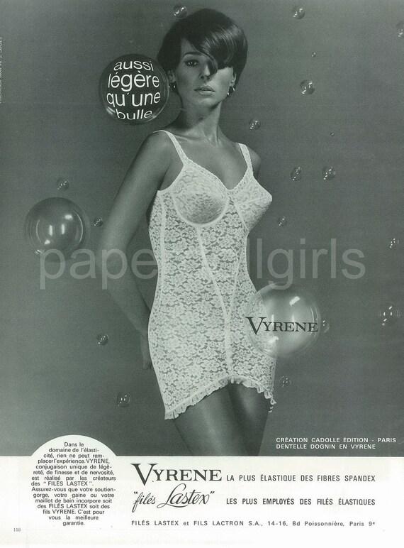 Fashion Magazine Ad 1966 French Vogue Vyrene Long Line Open